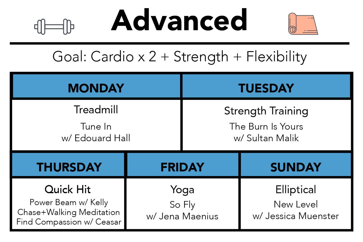advanced workout calendar aaptiv classes