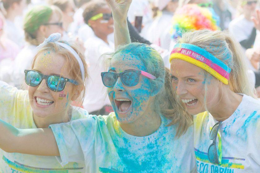 Girl friends taking selfie at 5k races run