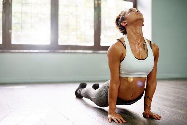 woman doing yoga stretching