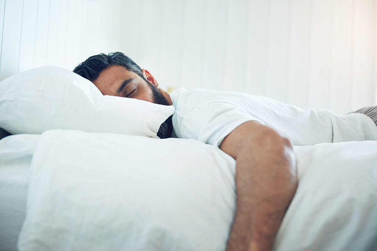 man gets enough sleep and exercise