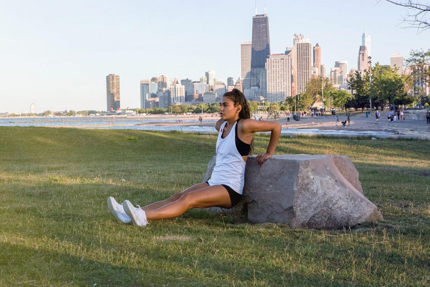 woman ups momentum with tricep dip