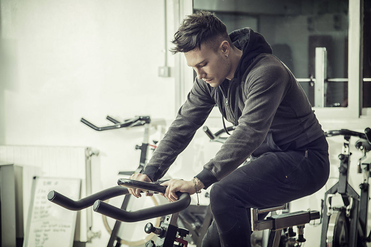 man with indoor cycling injuries