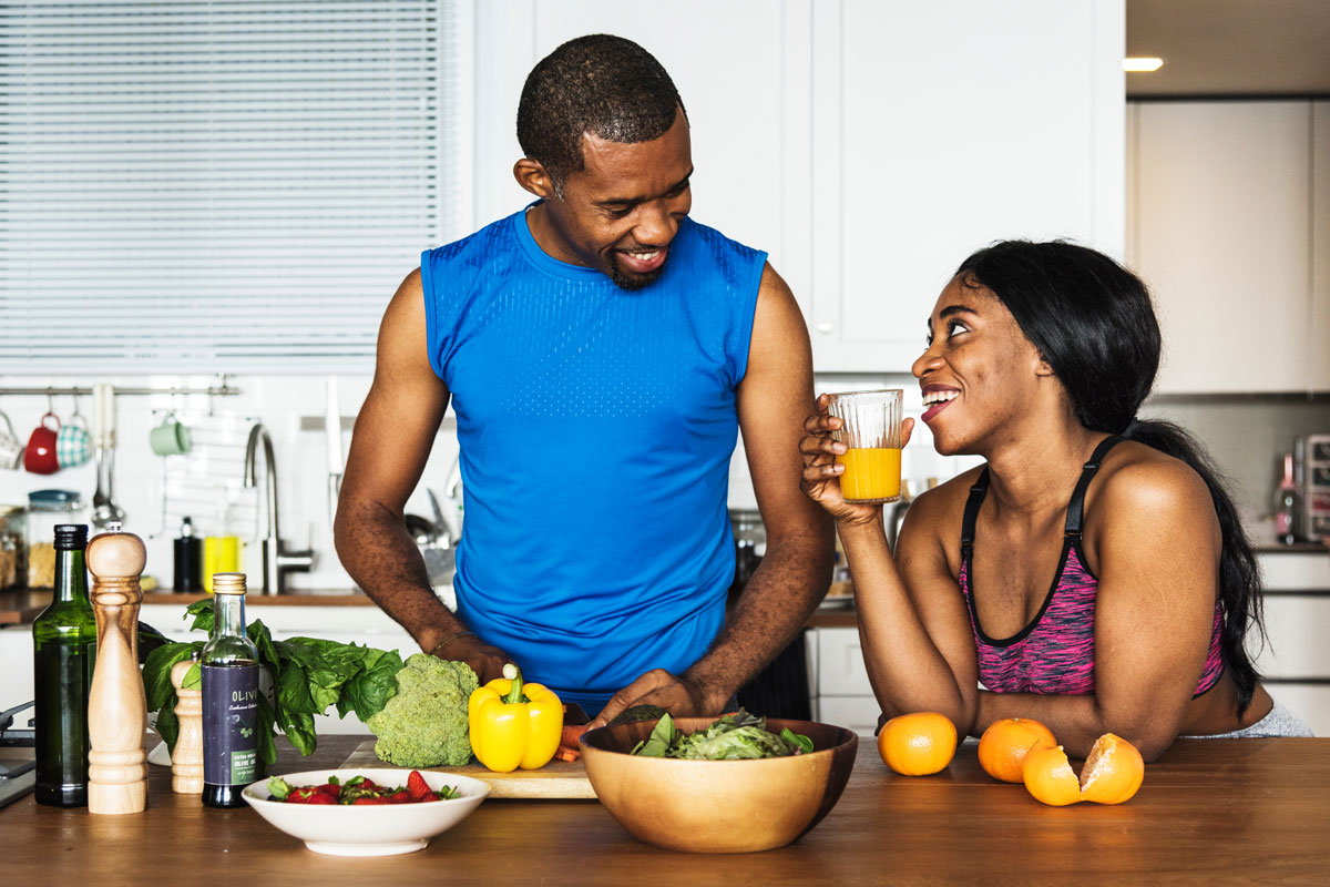 couple cooks vegetarian high-protein recipes