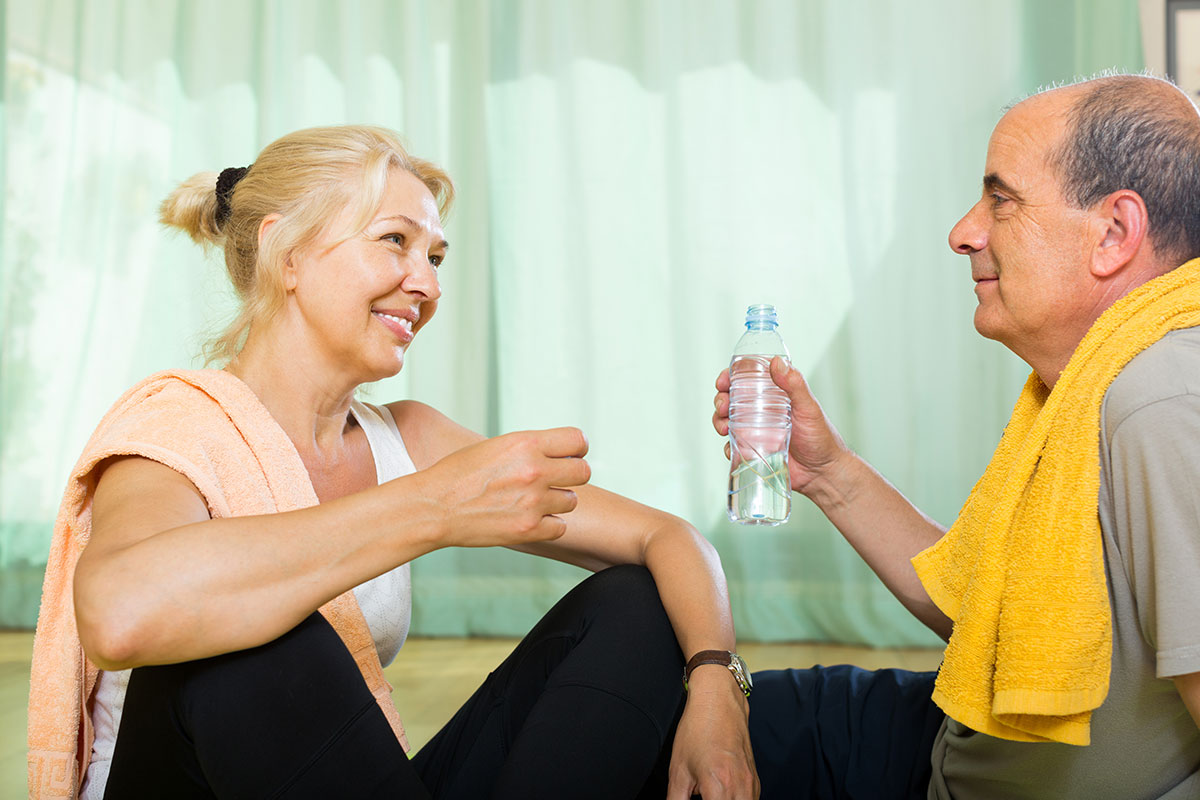 senior couple does low-impact workouts for older adults