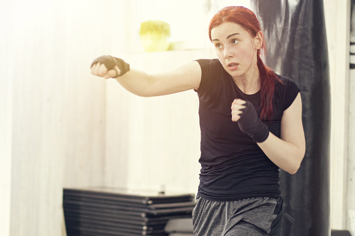 woman shadowboxing