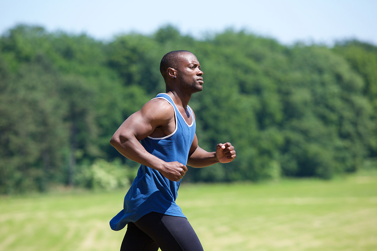 man easing back into outdoor running